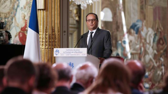 François Hollande lors de sa 6e conférence de presse le 7 septembre 2015 à l'Elysée à Paris [PHILIPPE WOJAZER / POOL/AFP]
