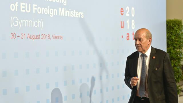 Le ministre des Affaires Etrangères français Jean-Yves Le Drian à Vienne, en Autriche, le 30 août 2018 [HERBERT NEUBAUER / APA/AFP]