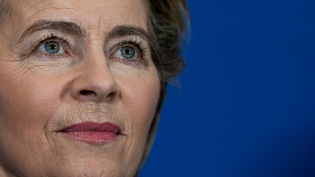 La présidente élue de la Commission européenne Ursula von der Leyen lors d'une conférence de presse à Bruxelles le 1er octobre 2019 [Kenzo TRIBOUILLARD / AFP]