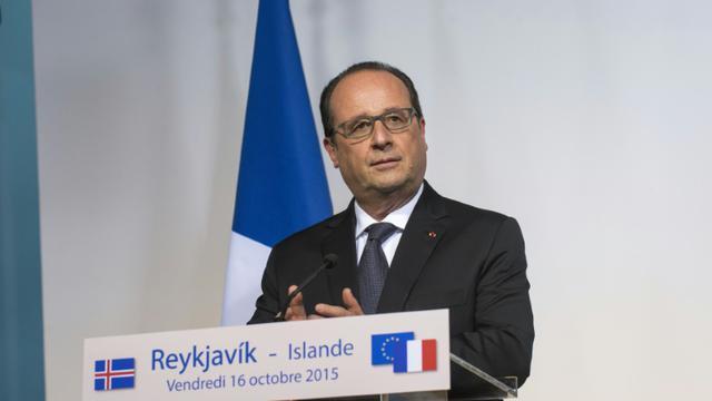 Le président français François Hollande à Reykjavik, le 16 octobre 2015 [HALLDOR KOLBEINS / AFP/Archives]