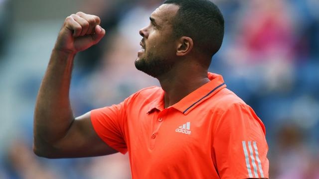 Jo-Wilfried Tsonga lors du match l'opposant à Marin Cilic le 8 septembre 2015 à l'US Open à New York [JEWEL SAMAD / AFP]