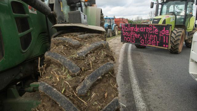 Des agriculteurs bloquent une route nationale à Vesoul pour protester contre la baisse des prix de vente de leurs produits, le 29 janvier 2016 [SEBASTIEN BOZON / AFP/Archives]