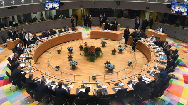 Les dirigeants européens réunis pour un sommet à Bruxelles, le 17 octobre 2018 [PIROSCHKA VAN DE WOUW / POOL/AFP]