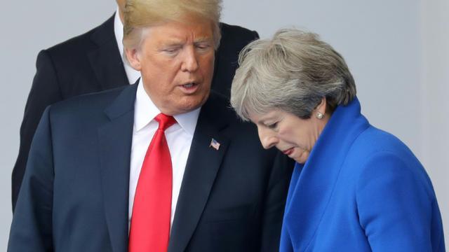 Le président américain Donald Trump et la Première ministre britannique Theresa May, à Bruxelles le 11 juillet 2018 [LUDOVIC MARIN / POOL/AFP/Archives]