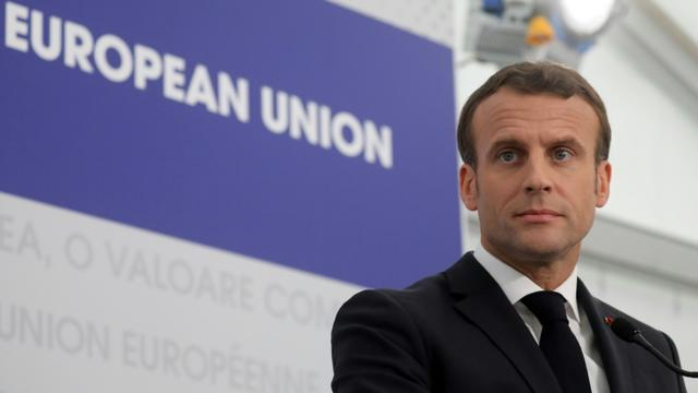 Emmanuel Macron à Sibiu (Roumanie), le 9 mai 2019 [Ludovic MARIN / AFP]