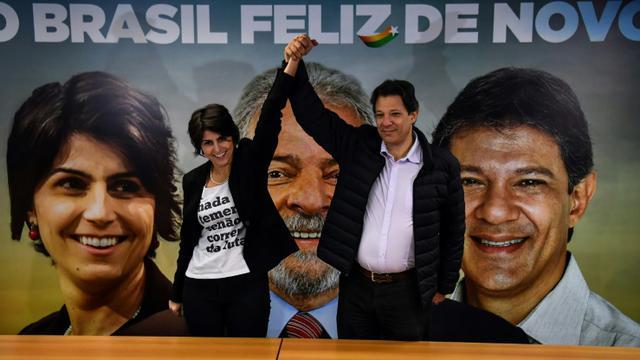 Manuela D'Avila, du Parti communiste du Brésil (PCdoB), nouvelle colistière du candidat à la présidentielle Fernando Haddad, ancien colistier de Lula,  le 7 août 2018 à Sao Paulo, au Brésil [Nelson ALMEIDA / AFP/Archives]