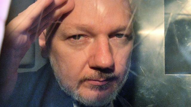 Le fondateur de Wikileaks Julian Assange le 1er mai 2019 à Londres [Daniel LEAL-OLIVAS / AFP/Archives]