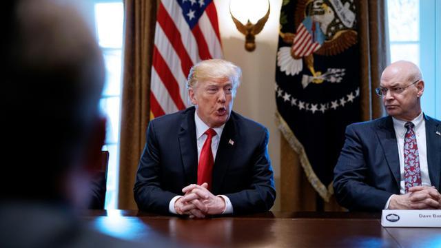 Le président américain fait une déclaration sur des taxes imposées sur les importations d'acier et d'aluminium aux Etats-Unis, le 1er mars 2018 à la Maison Blanche, à Washington [MANDEL NGAN / AFP]