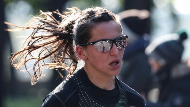 La Française Clémence Calvin lors du marathon de Paris, le 14 avril 2019 [KENZO TRIBOUILLARD / AFP/Archives]
