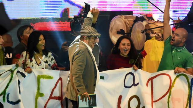 """Le leader des Farcs Rodrigo Londono Echeverri (Timochenko) à la présentation du nouveau parti politique """"révolutionnaire"""" à Bogota, le 1er septembre 2017 [Raul Arboleda / AFP]"""