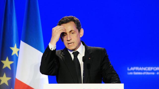 Nicolas Sarkozy lors d'un meeting de campagne aux Sables-d'Olonne, le 4 mai 2012 [Alain Jocard / AFP/Archives]