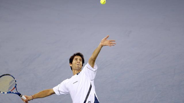 L'Israélien Amir Weintraub, lors d'un match de Coupe Davis contre la France, à Rouen, le 3 février 2013 [Charly Triballeau / AFP/Archives]