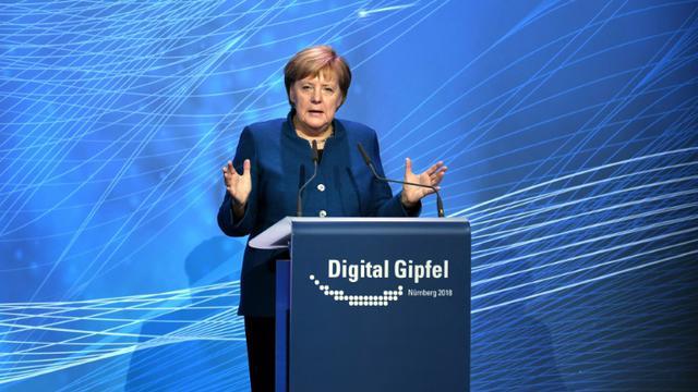 La chancelière Angela Merkel à Nuremberg (Allemagne) le 4 décembre 2018. [Christof STACHE / AFP]