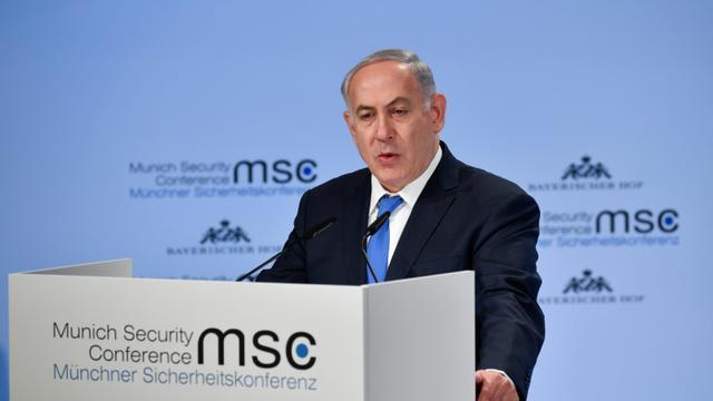 Le Premier ministre israélien Benjamin Netanyahu à la Conférence sur la sécurité de Munich, le 18 février 2018 [Thomas KIENZLE / AFP]