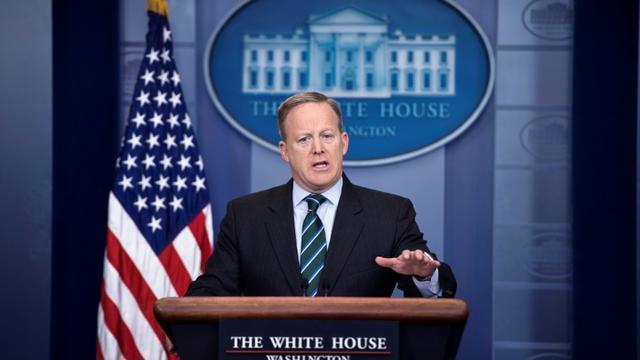 Le porte-parole de la Maison Blanche, Sean Spicer, le 25 janvier 2017 à Washington [Brendan Smialowski / AFP]