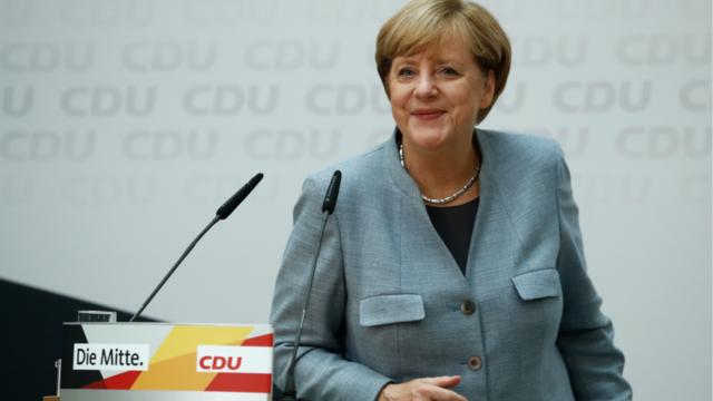 La chancelière allemande Angela Merkel le soir des élections fédérales du 24 septembre 2017.