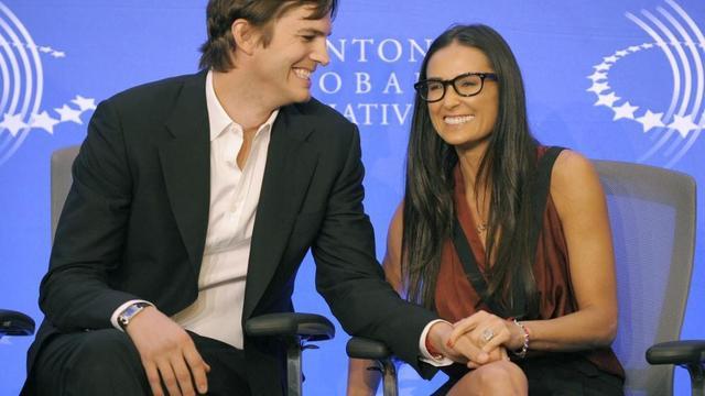 Demi Moore et l'acteur Ashton Kutcher le 23 septembre 2010 à New York.