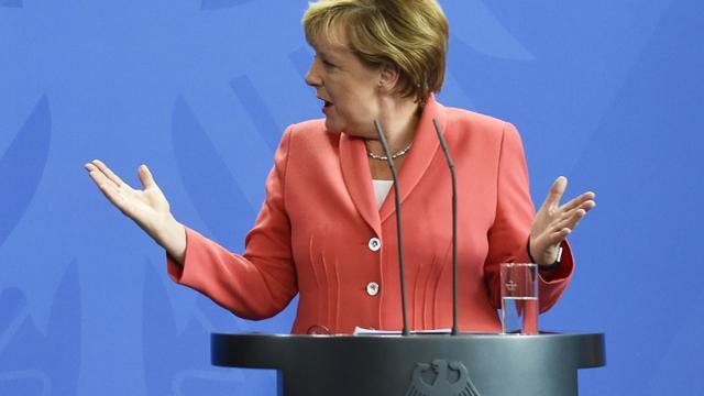La chancelière allemande Angela Merkel à Berlin, le 24 août 2015 [Tobias Schwarz / AFP]