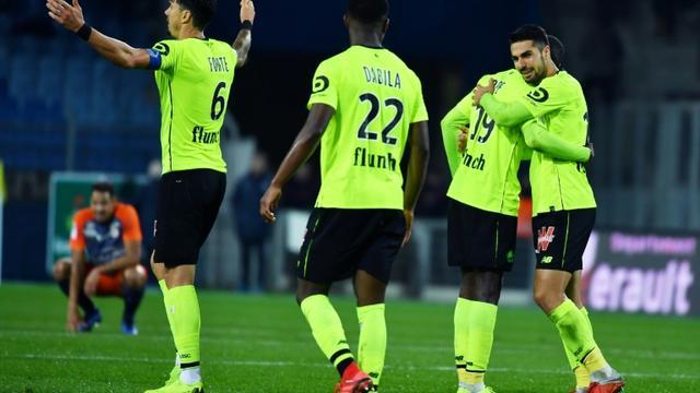 Le bonheur des Lillois vainqueur du choc de Ligue 1 contre Montpellier, le 4 décembre 2018 à La Mosson [PASCAL GUYOT / AFP]