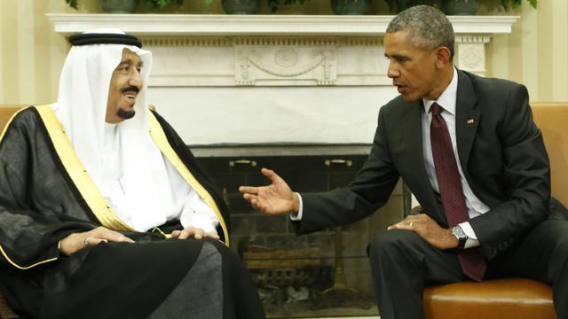 Le roi Salmane d'Arabie saoudite et le président Barack Obama à la Maison Blanche à Washington, le 4 septembre 2015 [Yuri Gripas / AFP]