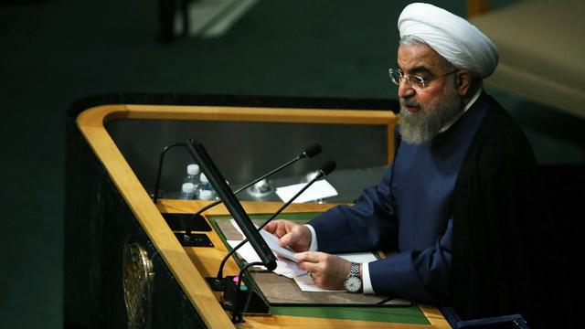 Le président iranien Hassan Rohani à la tribune de l'Onuj, le 28 septembre 2015 à New York [Spencer Platt / Getty/AFP/Archives]