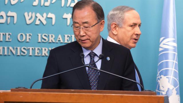 Le secrétaire général de l'Onu Ban Ki-moon et le Premier ministre israélien Benjamin Netanyahu lors d'une conférence de presse le 20 octobre 2015 à Jérusalem [MENAHEM KAHANA / AFP]