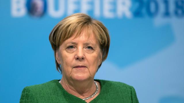 La chancelière allemande Angela Merkel, le 25 octobre 2018 à Fulda, dans l'ouest de  l'Allemagne [Silas Stein / dpa/AFP/Archives]