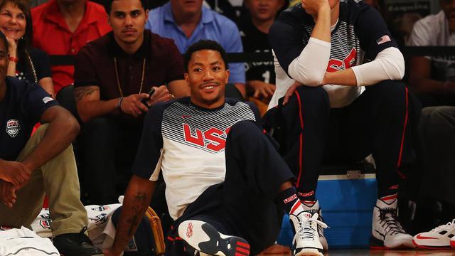 Le meneur des Chicago Bulls Derrick Rose avec la sélection des Etats-Unis au madison Square Garden, à New York, le 20 août 2014 [Al Bello / Getty/AFP/Archives]
