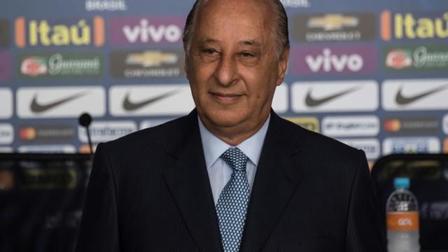 Le Brésilien Marco Polo Del Nero, président de la Confédération brésilienne de football (CBF), lors d'une conférence de presse, à Sao Paulo, le 3 mars 2017 [NELSON ALMEIDA / AFP/Archives]