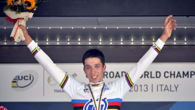 Igor Decraene le 24 septembre 2013 après avoir décroché le titre mondial du contre-la-montre à Florence [Eric Lalmand / BELGA/AFP]