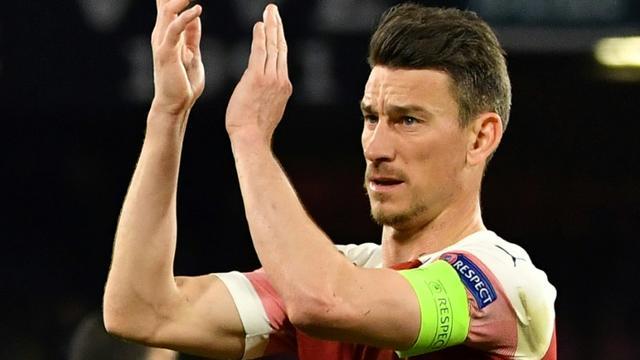 Le défenseur et capitaine français d'Arsenal Laurent Koscielny à la fin du quart de finale retour de Ligue Europa à Naples, le 18 avril 2019   [Andreas SOLARO / AFP]