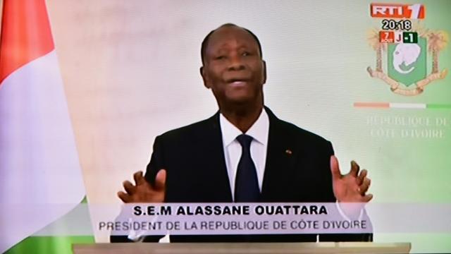 Capture d'écran de l'annonce télévisée faite par le président ivoirien Alassane Ouattara de l'aministie d'environ 800 personnes, dont l'ex-première dame Simone Gbagbo, le 6 août 2018 à Abidjan [ISSOUF SANOGO / AFP]