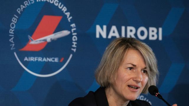 Anne Rigail lors d'une conférence de presse à l'occasion du lancement de la ligne Paris-Nairobi, à Nairobi le 26 mars 2018 [Yasuyoshi CHIBA / AFP/Archives]