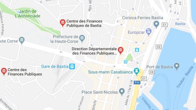 Un périmètre de sécurité a été mis en place autour du centre des finances publiques de Bastia.