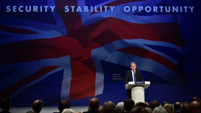 Le ministre des Affaires étrangères Philip Hammond lors du congrès annuel des Conservateurs à Manchester le 4 octobre 2015 [LEON NEAL / AFP]