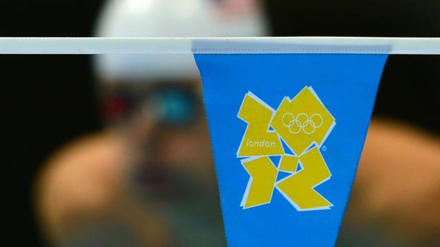 Le logo des JO-2012 lors d'une série de natation, le 1er août 2012 à Londres [GABRIEL BOUYS / AFP/Archives]