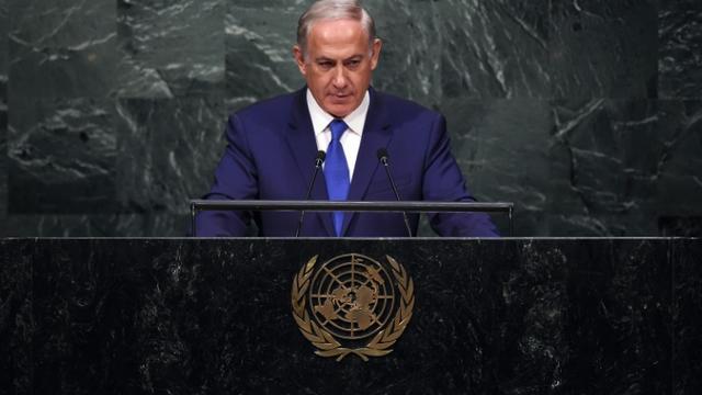Le silence du Premier ministre israélien Benjamin Netanyahu à la tribune de l'ONU à New York, le 1er octobre 2015 [JEWEL SAMAD / AFP]