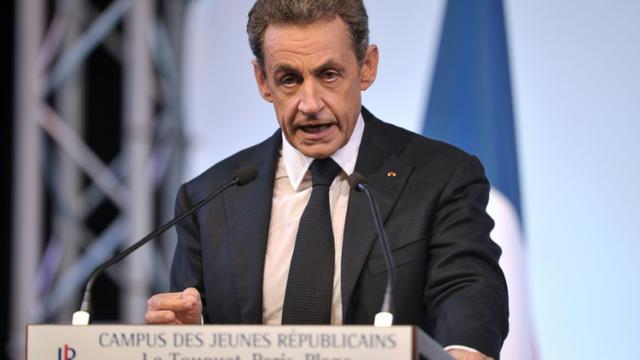 L'ancien président de la République Nicolas Sarkozy fait un discours lors du campus des jeunes Républicains au Touquet le 12 septembre 2015 [Francois Lo Presti / AFP]
