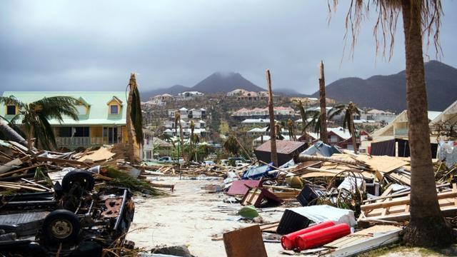 Sur l'île de Saint-Martin, le 7 septembre 2017, après le passage de l'ouragan Irma [Lionel CHAMOISEAU / AFP/Archives]