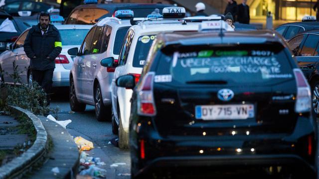 Rassemblement de taxis le 28 janvier 2016 Porte Maillot à Paris [GEOFFROY VAN DER HASSELT / AFP]
