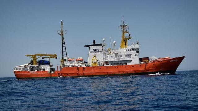 Photo d'archives du 6 mai 2018 du navire Aquarius de l'ONG SOS Méditérranée, qui porte secours aux migrants  [LOUISA GOULIAMAKI / AFP/Archives]
