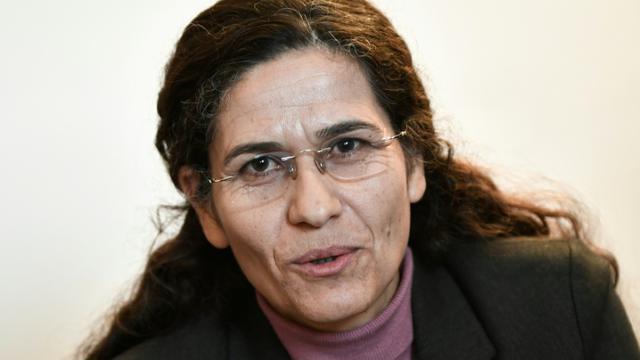 Ilham Ahmed une responsable kurde s'exprime lors d'une conférence de presse à Paris, le 21 décembre  2018 [STEPHANE DE SAKUTIN / AFP]