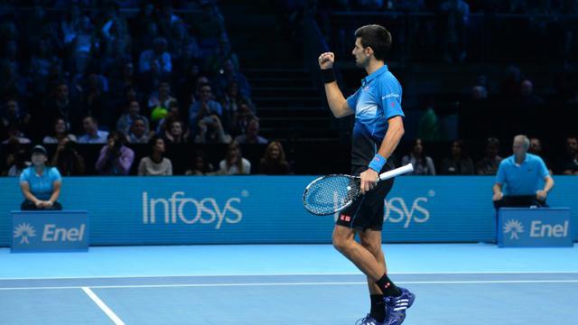Le Serbe Novak Djokovic après sa victoire sur Rafael Nadal en demi-finale du Masters de Londres, le 21 novembre 2015 [GLYN KIRK / AFP]