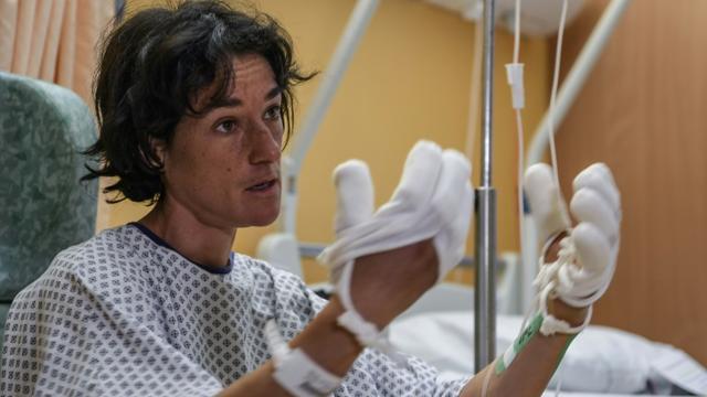 L'alpiniste Elisabeth Revol lors d'une interview exclusive à l'AFP dans un hôpital à  Sallanches, dans les Alpes françaises, le 31 janvier 2018 [PHILIPPE DESMAZES / AFP]