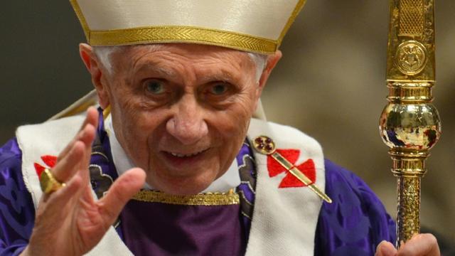 Le pape Benoît XVI lors de la messe du mercredi des cendres au Vatican, le 13 février 2013 [GABRIEL BOUYS, GABRIEL BOUYS / AFP/Archives]