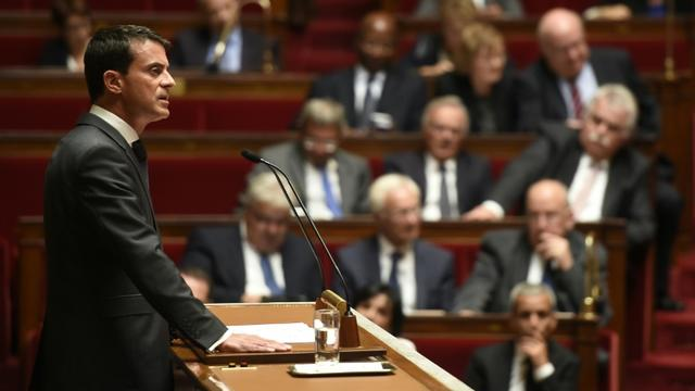 Manuel Valls lors de son intervention sur la Syrie à l'Assemblée nationale le 15 septembre 2015 à Paris [Eric Feferberg / AFP]
