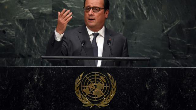 Le président François Hollande s'adresse à l'assemblée de l'ONU à New-York, le 28 septembre 2015 [TIMOTHY A. CLARY / AFP]