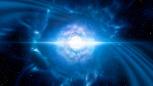 Vue d'artiste montrant deux étoiles à neutrons [HO / European Southern Observatory/AFP]