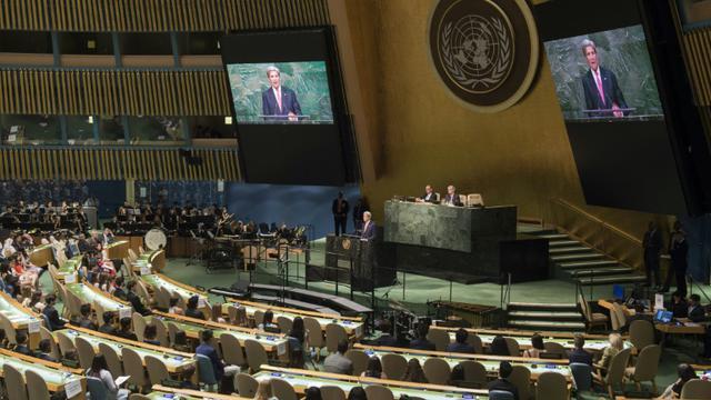 Le hall de l'Assemblée générale des Nations Unies, à New York [SAUL LOEB / POOL/AFP/Archives]
