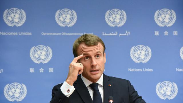 Emmanuel Macron, dans une conférence de presse à l'assemblée générale de l'ONU ce mardi [STEPHANIE KEITH / GETTY IMAGES NORTH AMERICA/AFP]